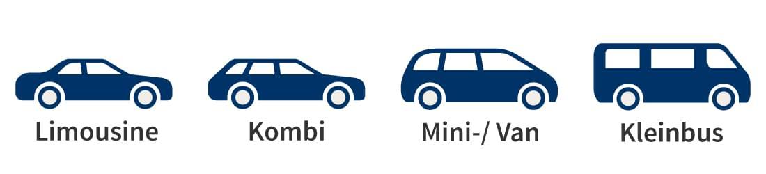 Fahrzeugform: Limousine, Kombi, Minivan oder Kleinbus